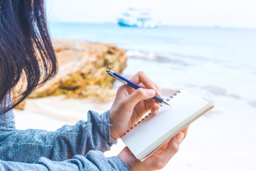 writing by the sea